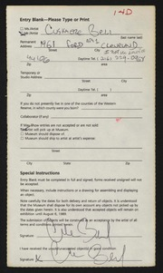 Entry card for Bell, Cushmere for the 1990 May Show.