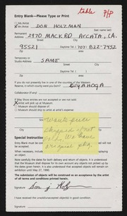 Entry card for Holzman, Don J. for the 1990 May Show.