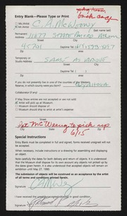 Entry card for McWeeny, Charles A. for the 1990 May Show.