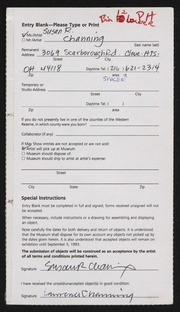 Entry card for Channing, Susan R. for the 1993 May Show.