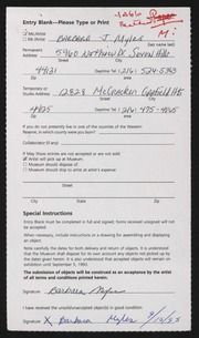 Entry card for Myles, Barbara J. for the 1993 May Show.