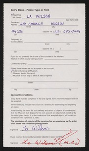 Entry card for Wilson, La for the 1993 May Show.