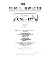 The Colonial Newsletter, no. 127