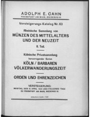 Versteigerungs-Katalog No. 63