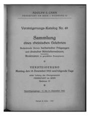 Versteigerungs-Katalog No. 49