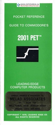 Commodore Pet 2001 Quick Reference : Free Download, Borrow, and ...