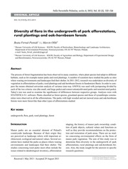 Diversity of flora in the undergrowth of park afforestations, rural plantings and oak-hornbeam forests