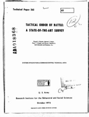 DTIC ADA018368: Tactical Order of Battle: A State-of-the-Art Survey