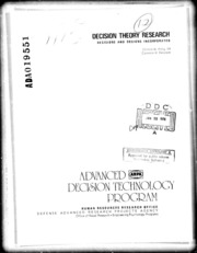 DTIC ADA019551: Decision Theory Research