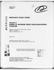 DTIC ADA041530: Propulsion Nozzle Studies. Volume II. Design of Maximum Thrust Nozzle-Base-Boattail Contours.