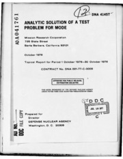 DTIC ADA041761: Analytic Solution of a Test Problem for Mode.