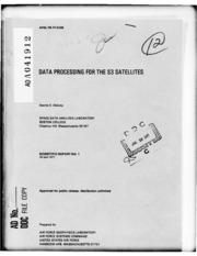 DTIC ADA041912: Data Processing for the S3 Satellites.