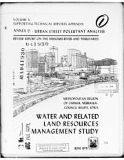 DTIC ADA041930: Water and Related Land Resources Management Study. Volume V. Supporting Technical Reports Appendix. Annex D. Urban Street Pollutant Analysis.