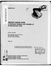 DTIC ADA042076: Aircraft Sideline Noise: A Technical Review and Analysis of Contemporary Data.