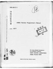 DTIC ADA042562: ARMS Remote Programmer-s Manual.
