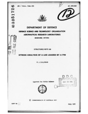 DTIC ADA051726: Stress Analysis of a Lug Loaded by a Pin,