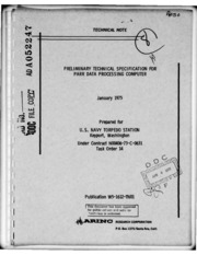 DTIC ADA052247: Preliminary Technical Specification for PARR Data Processing Computer.