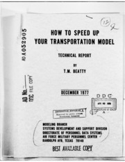 DTIC ADA052905: How to Speed up Your Transportation Model.