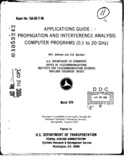 DTIC ADA053242: Applications Guide for Propagation and Interference Analysis Computer Programs (0.1 to 20 GHz)