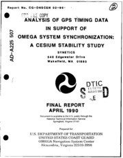 DTIC ADA225507: Analysis of GPS Timing Data in Support of Omega