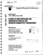 DTIC ADA231623: Studies of MHD Propulsion for Underwater Vehicles