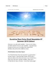 Sunshine Rare Coins Email Newsletter (#7)