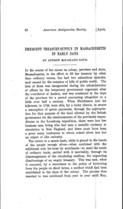 Emergent Treasury-Supply in Massachusetts in Early Days