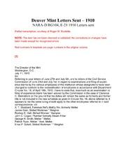 Denver Mint - Letters Sent 1910