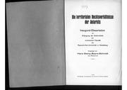 Die Territorialen Rechtsverhaeltnisse Der Antarktis 1940, 68 Doppels., Scan