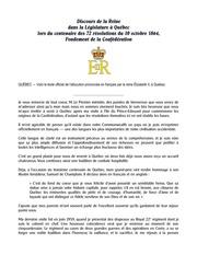 Discours de la Reine Elizabeth II lors du centenaire des 72 résolutions du 10 octobre 1864. Fondement de la Confédération