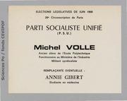 Législatives 1968 (Paris, 29e circonscription): bulletins de vote du 1er tour
