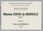 Législatives 1978 (Paris, 6e circonscription) : bulletins de vote du 2nd tour
