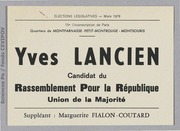 Législatives 1978 (Paris, 15e circonscription) : bulletins de vote du 2nd tour