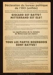 Giscard est battu ! Mitterrand est élu !