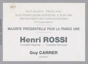 Législatives 1988 (Alpes-Maritimes, 8e circonscription): bulletins de vote du 2nd tour