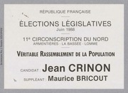 Législatives 1988 (Nord, 11e circonscription) : bulletins de vote du 1er tour