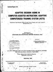 ERIC ED210469: Adaptive Decision Aiding in Computer-Assisted Instruction: Adaptive Computerized Training System (ACTS).