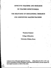 Research papers teacher effectiveness