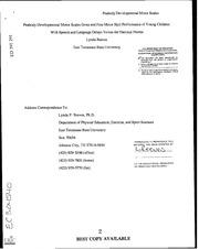 Eric Ed391291 Peabody Developmental Motor Scales Gross