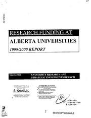ERIC ED451804: Research Funding at Alberta Universities ...