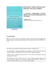 ERIC ED548495: A Preservice Mathematics Teachers Beliefs about Teaching Mathematics with Technology
