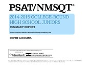 ERIC ED559118: PSAT-NMSQTR 2014-2015 College-Bound High School Juniors. Summary Report. South Carolina