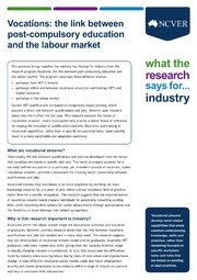 ERIC ED561380: Vocations: The Link between Post-Compulsory Education and the Labour Market. What the Research Says For... Industry