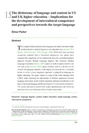 ERIC ED565031: The Dichotomy of Language and Content in US and UK Higher Education-Implications for the Development of Intercultural Competence and Perspectives Towards the Target Language