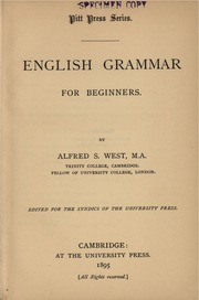 English grammar for beginners : West, Alfred S  (Alfred