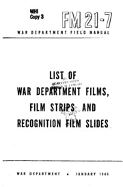 FM 21-7 List of War Department Films, Film Strips, and