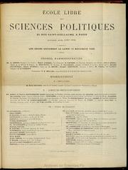 1885-1886 : Programme de l-Ecole libre des sciences politiques