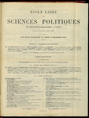 1887-1888 : Programme de l-Ecole libre des sciences politiques