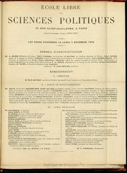 1892-1893 : Programme de l-Ecole libre des sciences politiques