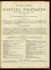 1896-1897 : Programme de l-Ecole libre des sciences politiques